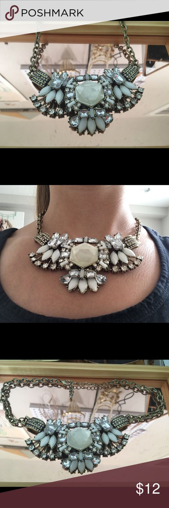 White Motif Chunky Statement Necklace J crew style chunky statement necklace (all gems in tact) high quality and cute feature - many adjustable rungs so it can be high neckline or low chest! J. Crew Jewelry Necklaces