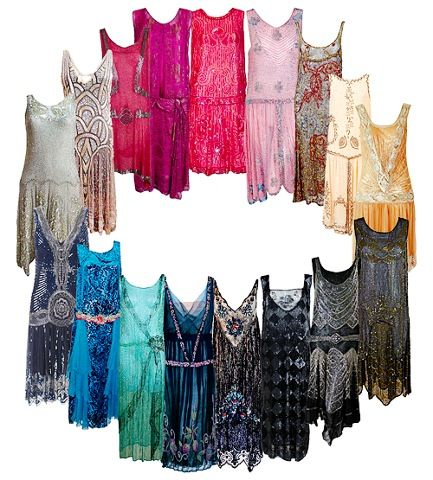Palette of 1920s inspired dresses