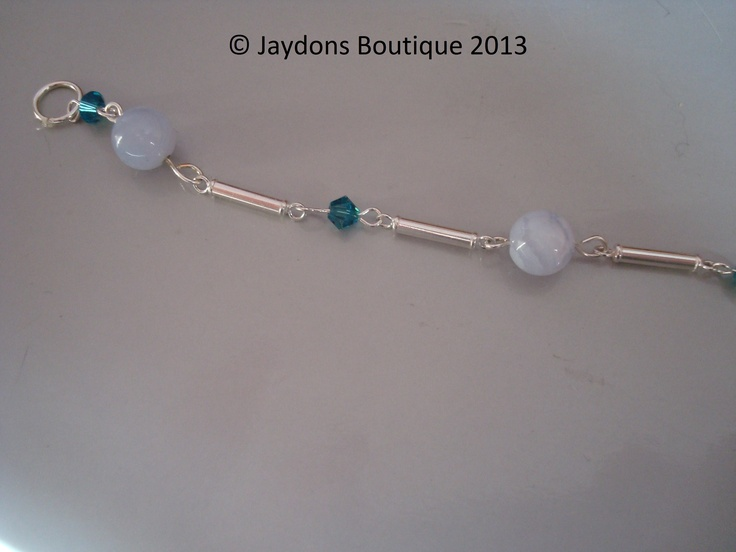 Indocolite Necklace - Genuine Swarovski Crystals and Blue Lace Agate Gemstone and Sterling Silver Links x