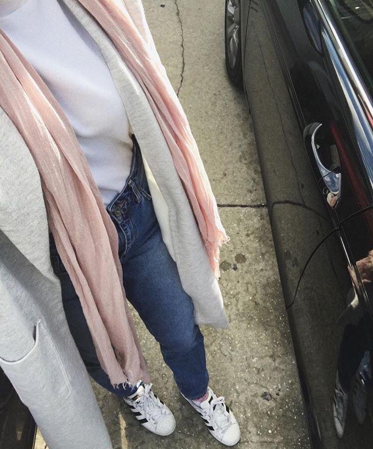 Hijab + Adidas Superstars + Pink Scarf + Gray (sallyomo)
