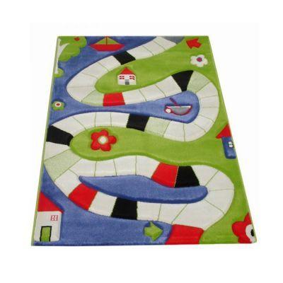 İvi Oyun Yolu Mavi Çocuk Odası Halısı (100x150 Cm)