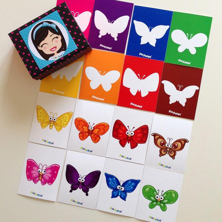 Pia Polya Kelebeğin Gölgesini Bularak Renkleri Eşleştirme Kartları 18ay ve 48ay çocuklar içindir.