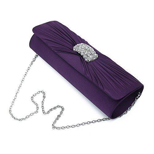 New Trending Clutch Bags: Elegant Cross Pleated Satin Oval Rhinestones Clutch Evening Bag, Purple. Elegant Cross Pleated Satin Oval Rhinestones Clutch Evening Bag, Purple  Special Offer: $12.95  188 Reviews This premium quality evening clutch is both elegant and stylish. Pleated satin fabric front with sparkling crystal rhinestones center. fully lined with magnetic-flap closure and...