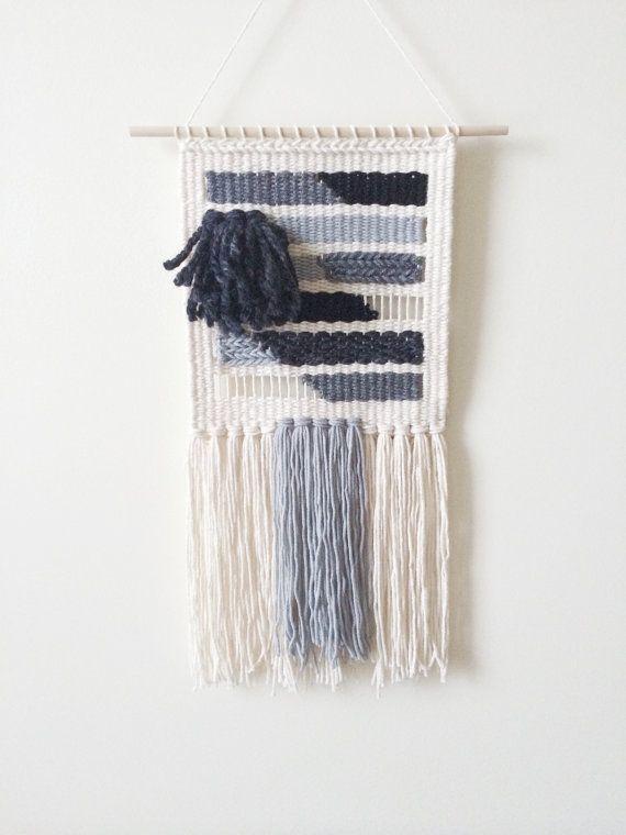Black & White Geometric Weaving | Hand Woven Wall by SheLovesLife #weaving #gift
