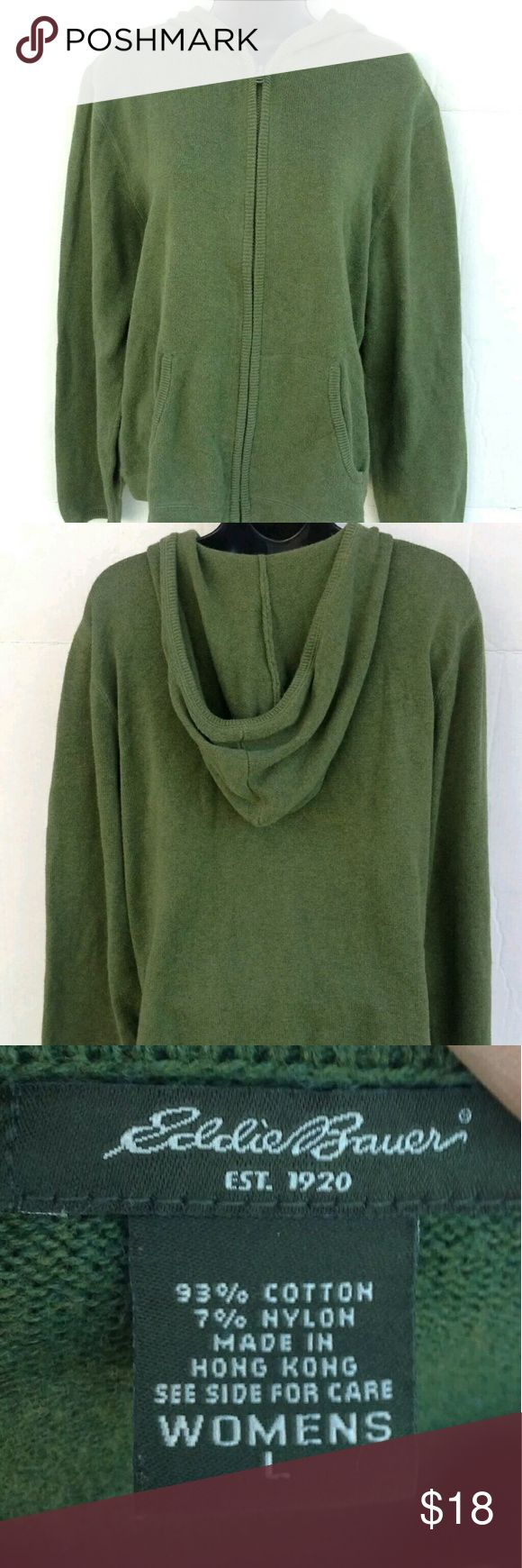 Eddie Bauer, women's L dark green zip up Sweater Eddie Bauer, women's L dark green zip up hooded sweater. Eddie Bauer Sweaters