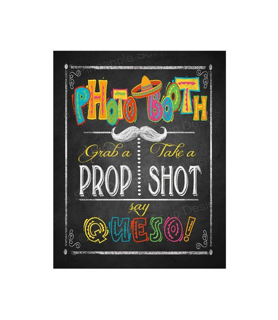 Fiesta Party PHOTO BOOTH sign in chalkboard style - Birthday Fiesta Signage - PRINTABLE Diy poster