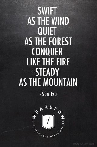 Swift as the wind. Quiet as the forest. Conquer like the fire. Steady as the mountain. -Sun Tzu