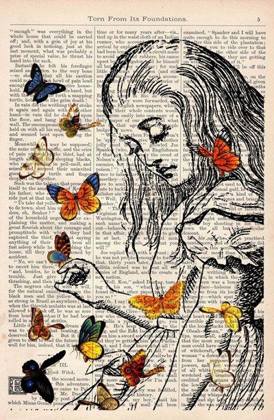 newspaper art Alice's Adventures in Wonderland