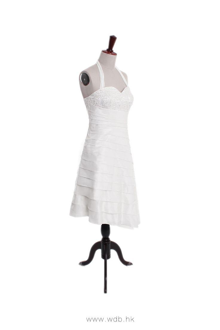 Halter neck dropped waist hi-low hem gown $198.98
