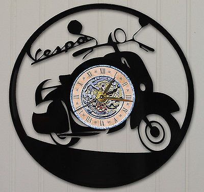 #Vespa laser cut vinyl lp #record wall #clock free shipping , View more on the LINK: http://www.zeppy.io/product/gb/2/181931056341/