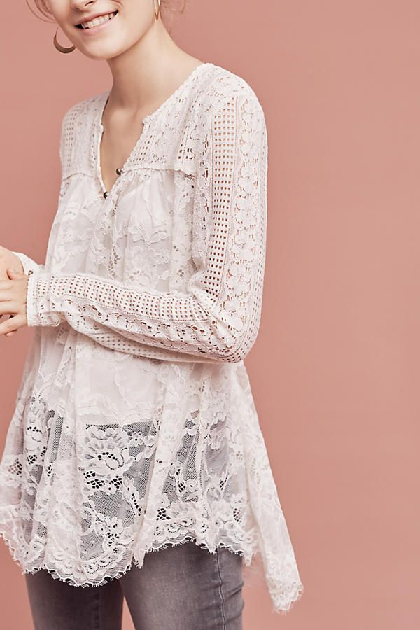 Scalloped Lace Henley