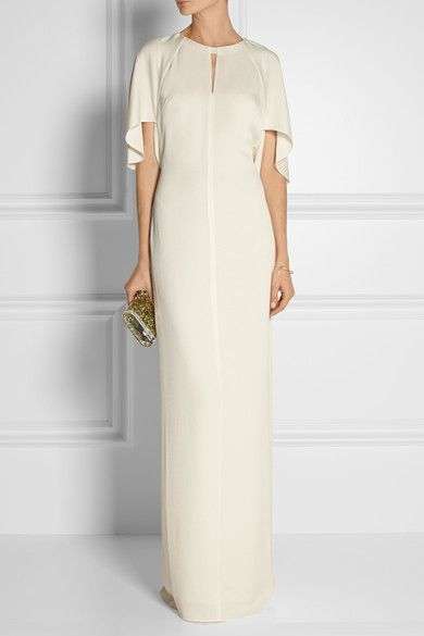 3.1 Phillip Lim Ivory crepe and chiffon Tie and concealed zip fastening at back 78% acetate, 22% polyester; lining: 100% polyester Dry clean