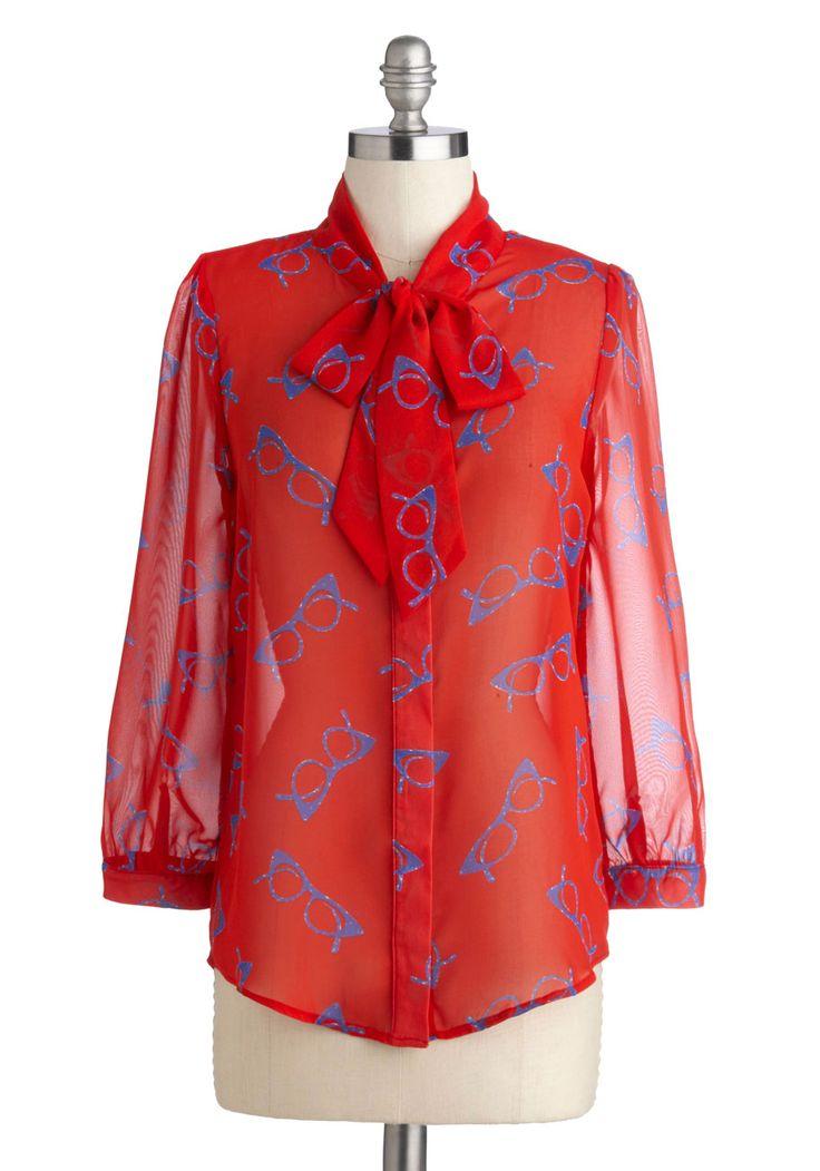 Lash Before My Eyes Top in Frames | Mod Retro Vintage Short Sleeve Shirts | ModCloth.com