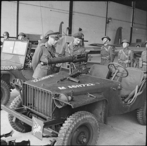King visits airborne May 1942 The King inspects an airborne jeep fitted with a…
