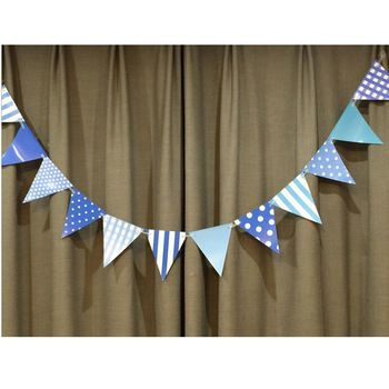 1set/lot Blue Happy Birthday Handmade Paper Flags Bunting Banner for kids Birthday Party Boy Baby Shower Decorations  //Price: $7.00 & FREE Shipping //     #babyshowerdeals #design #ideas #babies #baby #babygirl #babyboy #babyroom #gift #baloons #babyshower
