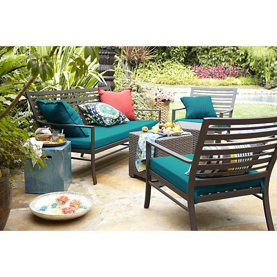valencia sofa with sunbrella harbor blue cushion crate and barrel - Garden Furniture Crates