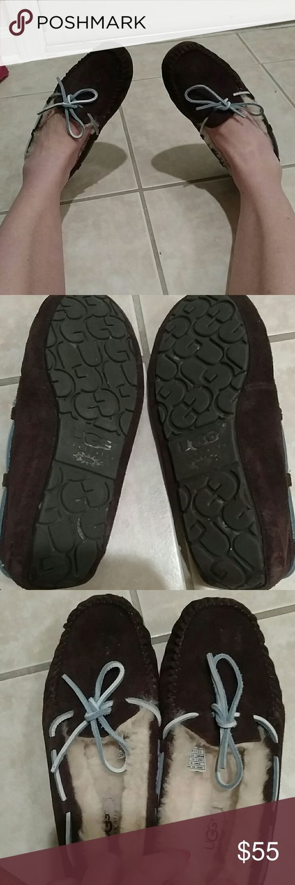 Ugg slippers Great ugg slippers in good condition just worn a couple times. Chocolate brown size 7 but I think they are roomy and be 7.5 as well and work for wide feet. Upper is leather, lining is genuine sheepskin, and out sole is rubber UGG Shoes Slippers