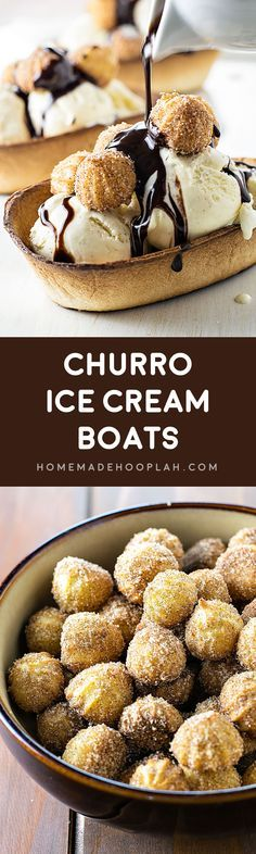 Churro Ice Cream Boats! Sweeten up your next party with these easy-to-make ice cream boats with churro bites!   HomemadeHooplah.com #oldelpaso #safeway #spon