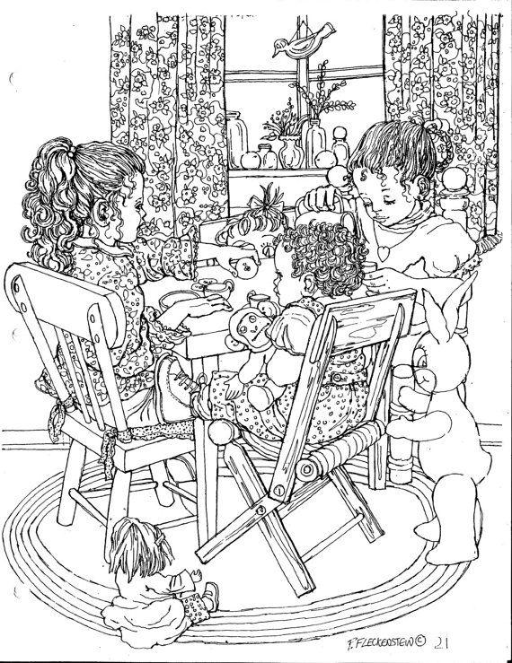 COLORARE, colorare per adulti, adolescenti, bambini, Cute dettagliate penna e inchiostro di stampa del mio disegno originale, DIY, download immediato stampabile