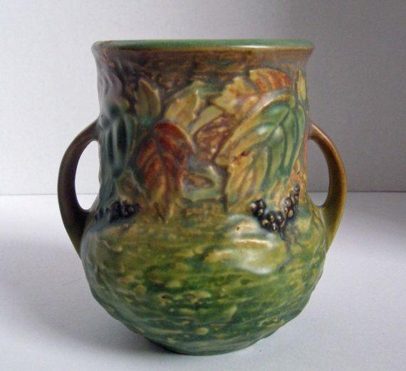 Roseville Blackberry Vase Green Ceramic by snidersvintagefinds