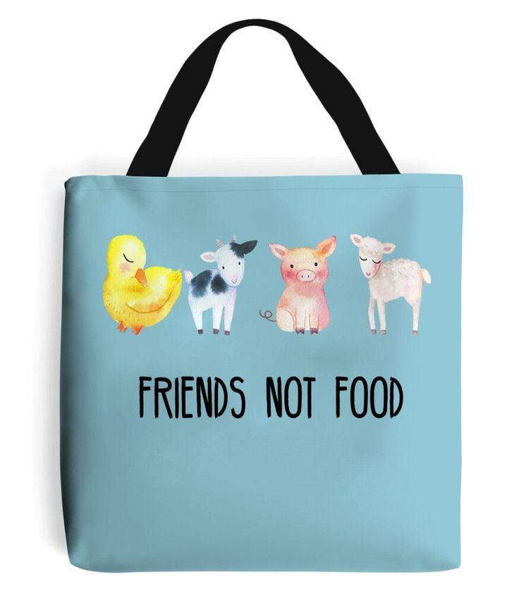 Friends not food tote bag. Vegan printed bags and apparel at www.beardsandethics.com