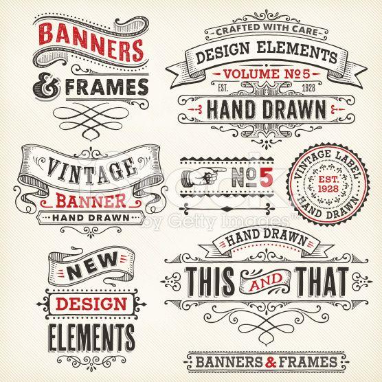 Vintage frames et bannières dessinés à la main cliparts vectoriels libres de droits