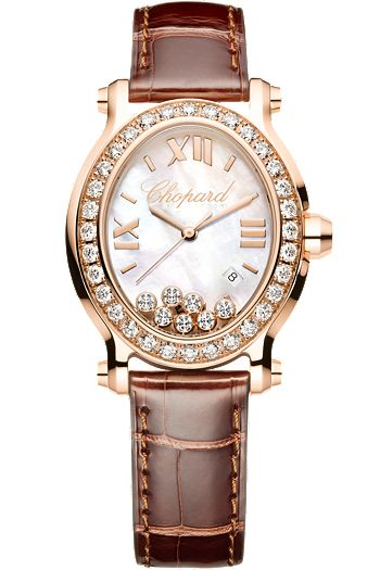 Chopard Happy Sport Oval watch, 18k rose gold with diamonds and alligator strap (=)