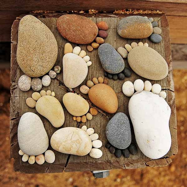 A cute way to play with all the rocks that come home with the kids.