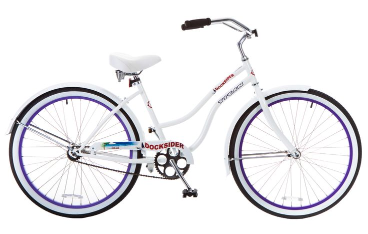 Titan Women's Docksider Beach Cruiser Single-Speed Bicycle, 17-Inch Frame, 26-Inch Wheels, Lavender Wheels, White