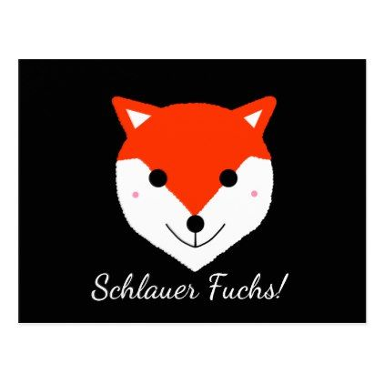 Schlauer Fuchs! Clever Fox! in German - Deutsch Postcard - drawing sketch design graphic draw personalize