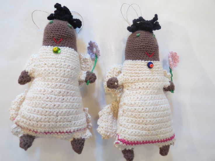 Crochet angels designed crafted by a women's collective at Kim Sacks Gallery Johannesburg