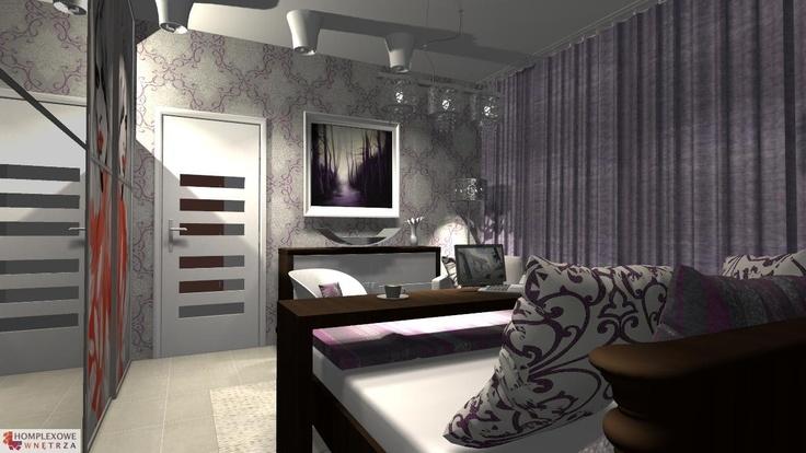 Aranżacja sypialni wystrój nowoczesny w kolorach beżowy, brązowy, fioletowy - projekt wnętrza o id 6635001 w homplex.pl, Zestaw wyposażenia za 19598 zł ($6124)