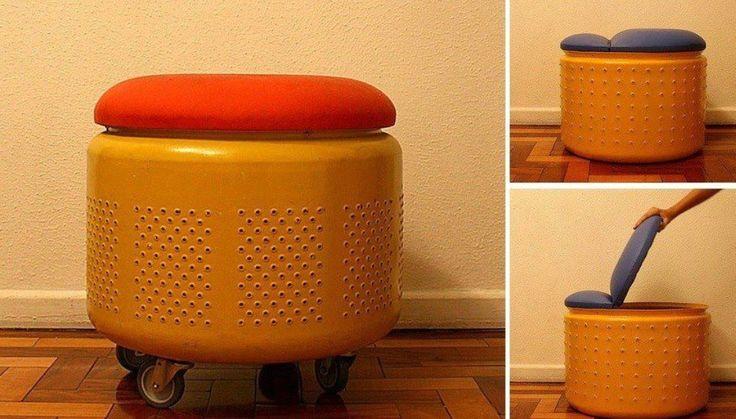 Taburete con la tina de lavadora