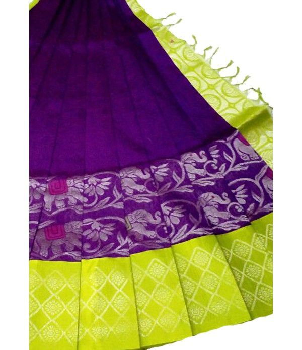 Purple Handloom Pure Kollam Silk Kuppadam Saree