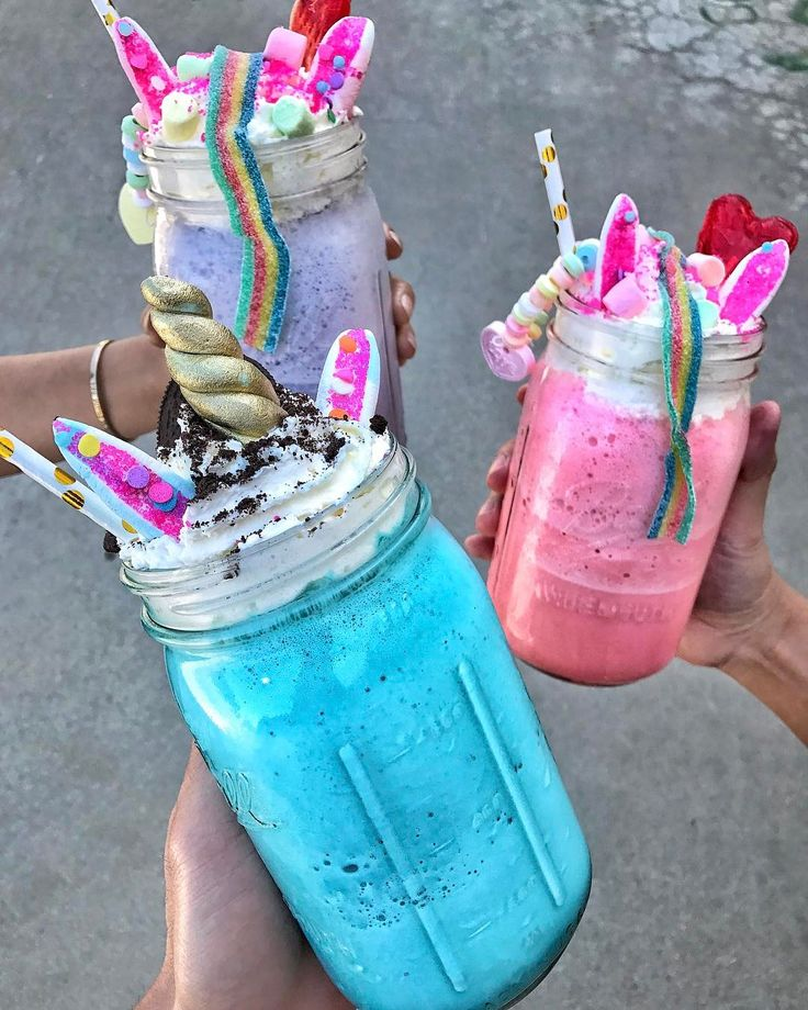 Unicorn Milkshake – Caked LA || Caked LA's unicorn milkshakes are what dreams are made of. Their visually stunning beverage is made with ice cream and topped with a hefty serving of whipped cream. The mythical drink is then decorated with sprinkles, candy necklaces, rainbow gummies, and pastel marshmallows.