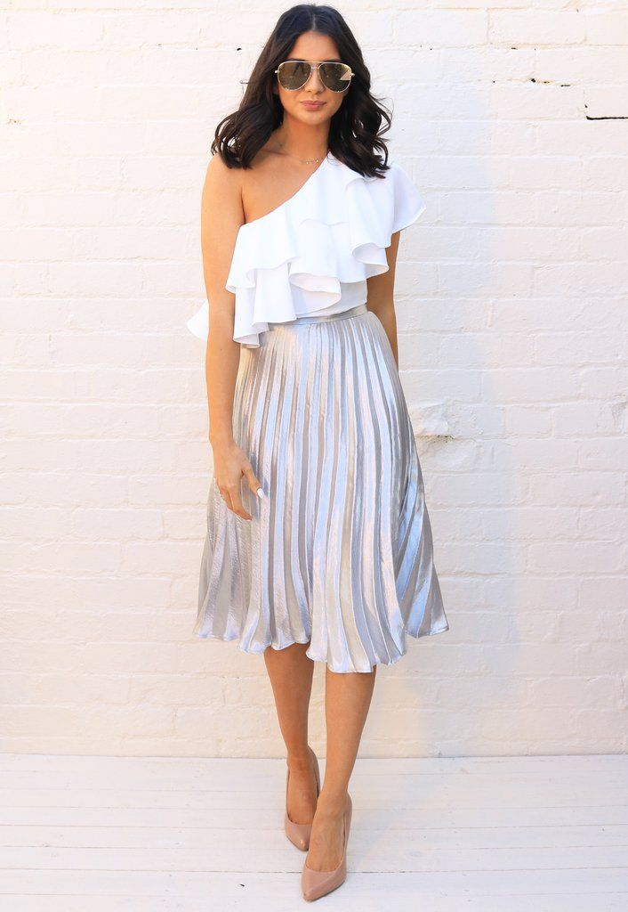 7db436e00 Metallic Satin Pleated High Waisted Midi Skirt in Silver - One Nation  Clothing