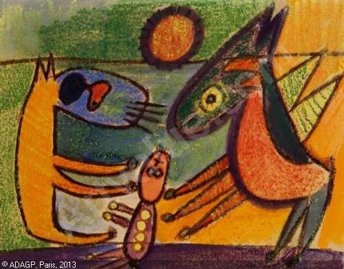 Carl-Henning || Pedersen Fantasy animals || 1951|| Paint on canvas