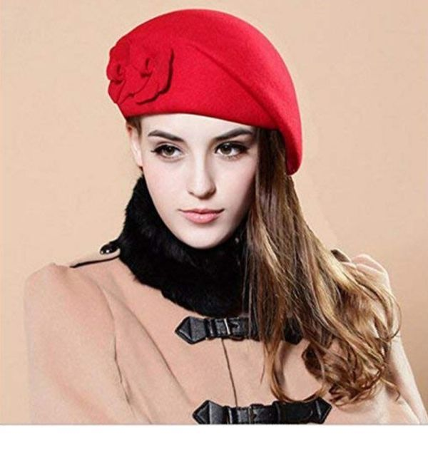 MA ONLINE Adults French Man Black Beret Hat Cap Unisex French Artist Fancy Dress Accessory One Size