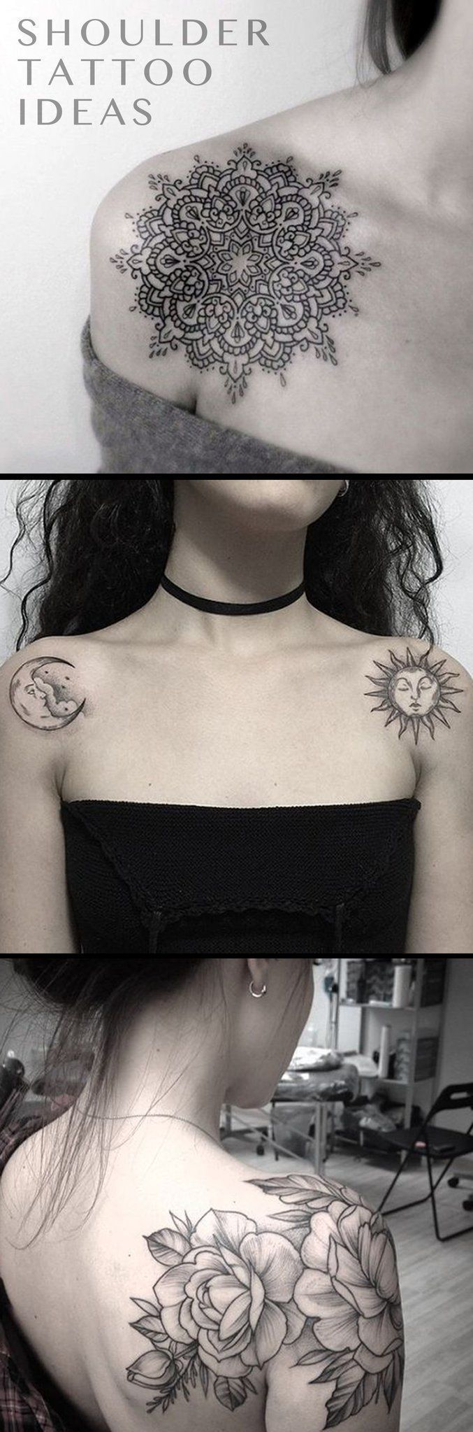 Popular Shoulder Tattoo Ideas for Woman - Black and White Geometric Mandala idées de tatouage with Meaning - Sun and Moon Ideas Del Tatuaje - Delicate Vintage Floral Flower Tattoo Ideen - www.MyBodiArt.com #flowershouldertattoos #geometrictattoos #tattooideas