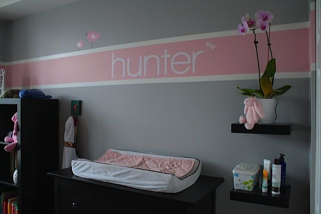 name wall decal from Etsy? pick your font and size! and the little birds!!