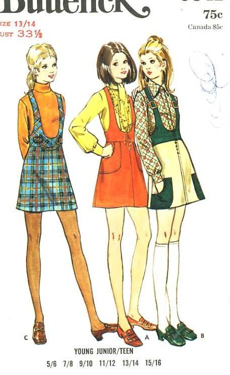 1960's Butterick 5841 sewing pattern. Mom made me a plaid and a solid version of this jumper in 1966.
