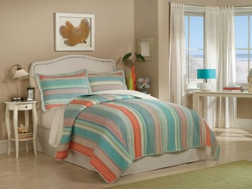 Amagansett Blue And Orange Striped Quilt Sets By Retro