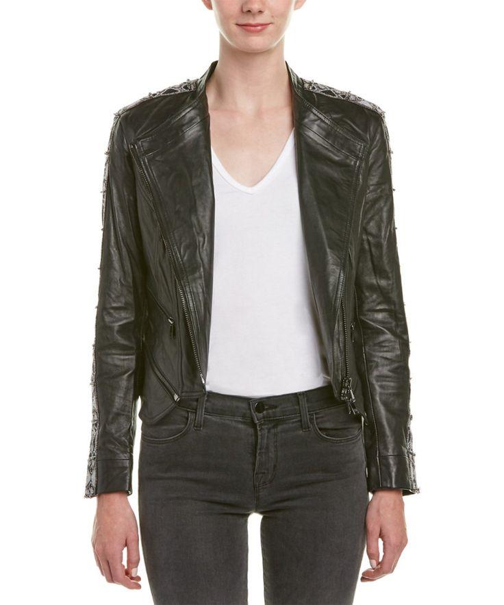 HAUTE HIPPIE Haute Hippie Embellished Trim Leather Moto Jacket'. #hautehippie #cloth #jackets