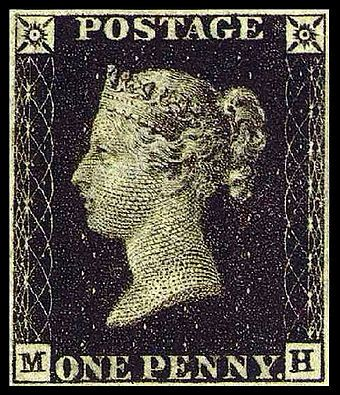 A British Penny Black (with no country designation) was the world's first adhesive postage stamp used in a public postal system. It was issued in Britain on May 1, 1840, for official use from May 6th of that year