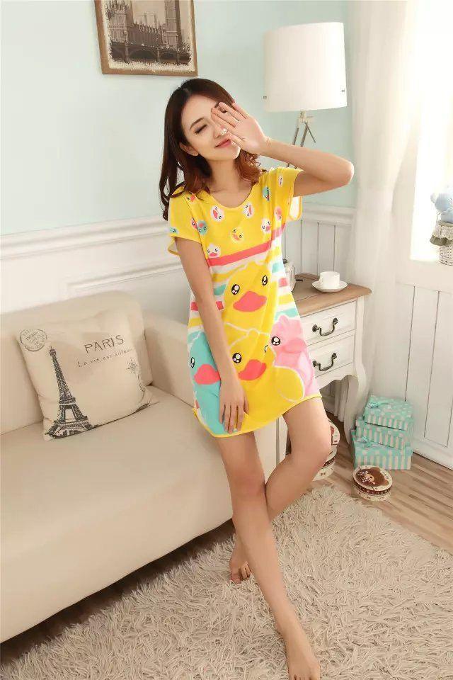 Great Cute Women's Cartoon Polka Dot Sleepshirt Short Sleeve Sleepwear Fashion ladies Nightgowns One piece Factory Wholesale-in Nightgowns & Sleepshirts from Women's Clothing & Accessories on Aliexpress.com   Alibaba Group