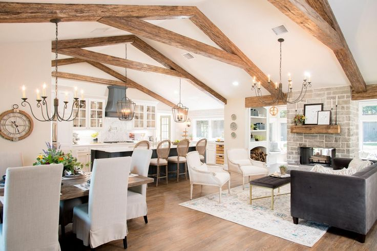 The beams we added throughout the living spaces and master bedroom were actually faux beams, meaning they were hollow. Brittany loved the look of beams, and this was an inexpensive way to achieve the exact same look.