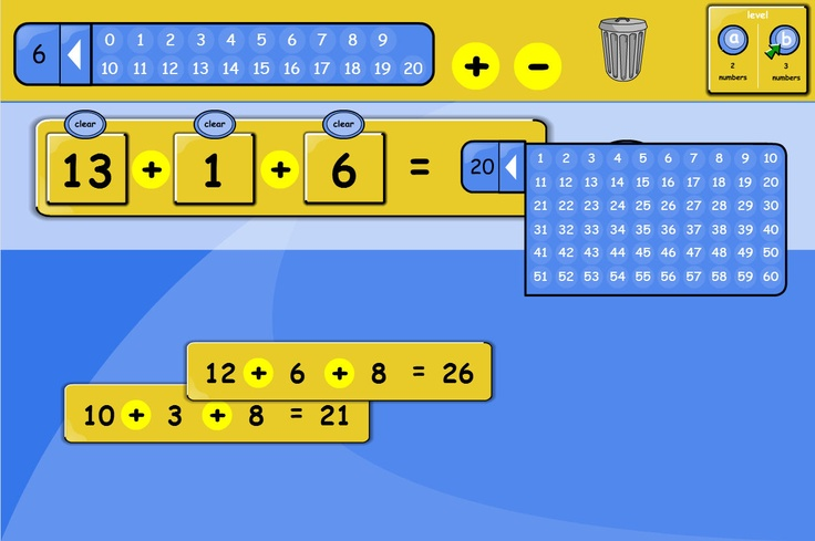 Make calculations using numbers from 1 to 20. Pupils can explore number relationships by making their own calculations. Select a number from 1 to 20 and click to make a tile for the number sentence.
