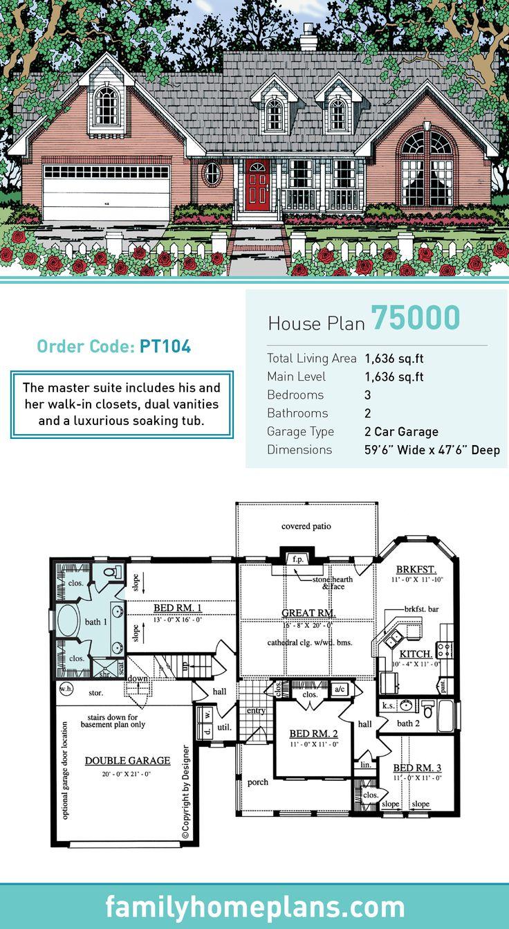 53 best cape cod house plans images on pinterest cape for Cape cod house plans with first floor master bedroom