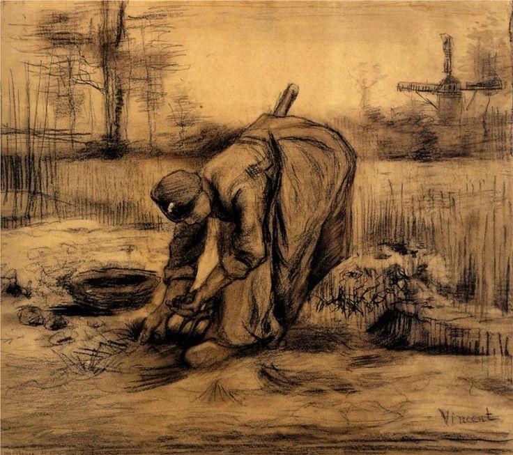 Peasant Woman LIfting Potatoes - Vincent van Gogh - 1885