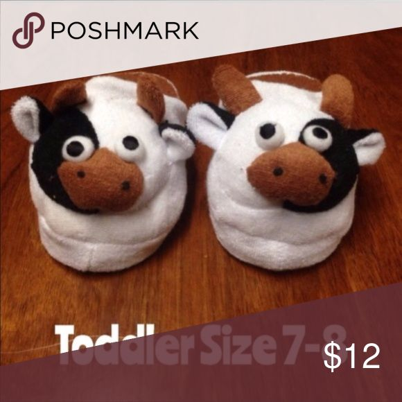8 For $25 Child's Cow Slippers Toddler 7-8 These are just so cute. Great for if you have a little farm animal lover in your home. Cute Cow Slippers. Perfect for a boy or a girl.. Boutique Shoes Slippers